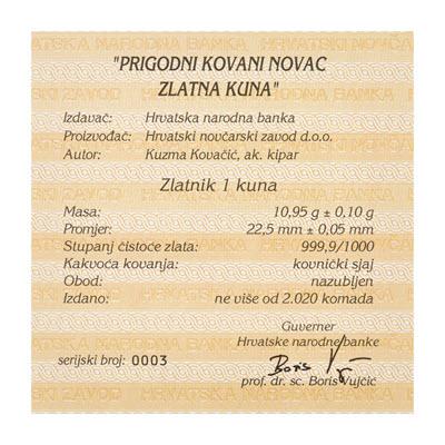 Zlatna kuna 2020. slika certifikat
